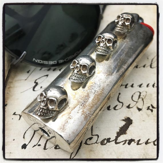 Etherial Jewelry - Rock Chic Talisman Luxury Biker Custom Handmade Artisan Pure Sterling Silver .925 Custom Bic Skull Large Lighter Case
