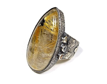 Huge Vintage Gold Rutilated Quartz Gemstone 925 Sterling Silver Ring size 6.5