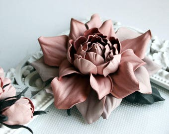 Pink- Soft Pink Leather Rose Flower Brooch/Hair Clip