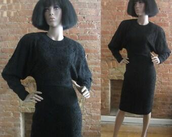 1980s Fabrice soutache & beaded black wool dress | 80's high fashion designer