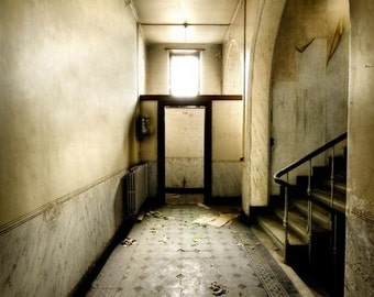 """Belgium Neglected Beauty, Fine Art Print, Abandoned School Building, Architecture, color photography """"Access Granted"""""""