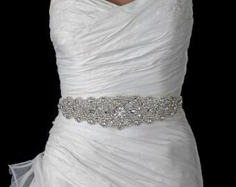 Ivory Bridal Rhinestone Crystal Bridal Wedding Belt Sash
