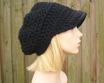 Crochet Hat Women Black Newsboy Hat - Crochet Newsboy Hat in Black - Black Hat Black Beanie Womens Accessories - 34 Color Choices