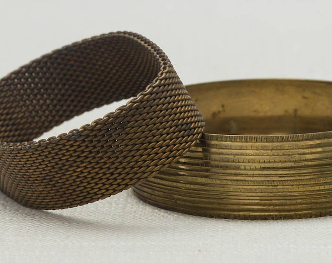Vintage Gold Flexible Mesh Etched Bangle Bracelet Set Stackable Costume Jewelry Cuff 7OO