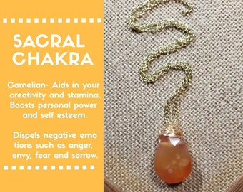 Sacral Chakra Carnelian Teardrop Necklace