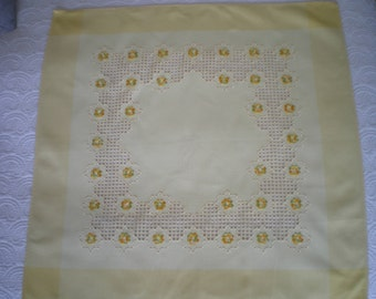 tablecloth, square, cotton surnappe yellow Hardanger hand embroidered
