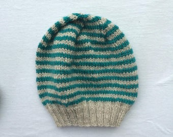 Teal Speckle and Stripe Hat