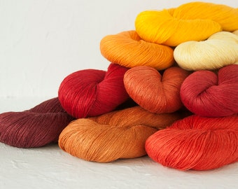 Linen thread skeins Set of 9 linen skeins in  bright colors mix - red, orange, yellow