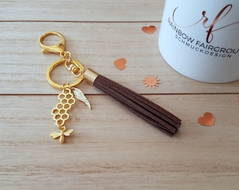 """Key ring/ring with pendant """"Honeycomb/Bee"""" gold/Brown"""