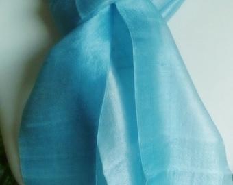 100% Pure Raw Thai Silk Scarf in vivid 2-tone Turquoise. Handwoven