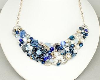 Navy Statement Necklace- Sapphire Blue Necklace-Cobalt Blue Bib-Blue Bridal Necklace-Wedding Necklace-Navy Blue Bib Necklace-Cobalt Necklace