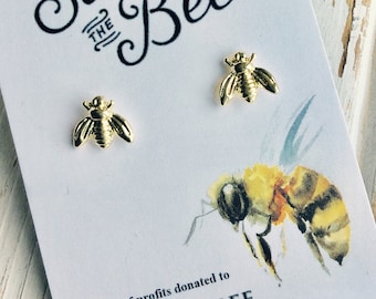Save the bees. 20% of profits donated to The Honeybee Conservancy. 14k Gold or Sterling Silver Plated Bee Earrings. Post Stud