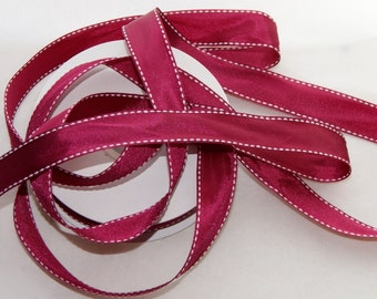 5 Yards Burgundy Saddle Stitch Grosgrain Ribbon Trim 3/4 inch , Hair bows, Scrap booking, Cards (SS 3)