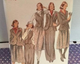 Retro 1970s Butterick 5613 sewing pattern- size 10 misses jacket- vest-skirt and pants, uncut- tailor fit, classic vest, pants- full skirt