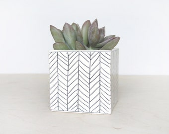 Large Square Planter - Herringbone  - Made to Order