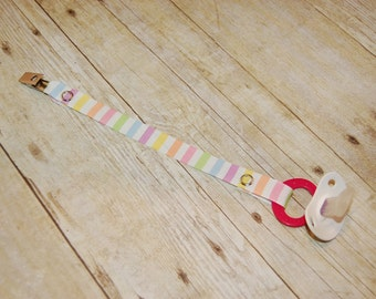 Pacifier Clip, Pastel Stripes, Personalization Available, Ready to Ship, Free USA Shipping