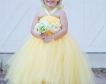 Yellow Tutu Flower Girl Dress with Flower Sash, Yellow Tutu Dress, Yellow Dress