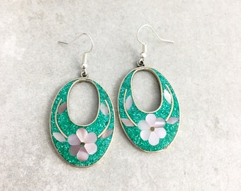 Vintage Mexico Alpaca Turquoise and Abalone Earrings
