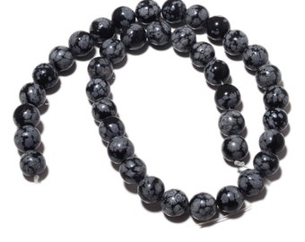 Natural Snowflake Obsidian Beads, Spotted Grey Jasper, 10mm Round Beads, 15 Inch Strand, SKU-MM23/1