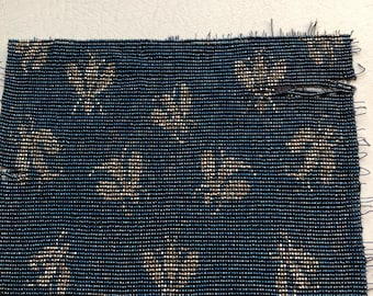Vintage Blue French cut Steel Fly insect motif French Metal beaded reclaimed purse swatch reminet antique  for repurpose or bead stock