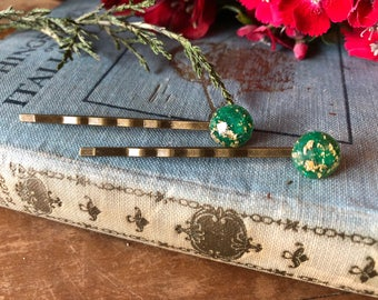 green and gold foil bobby pins, hair jewelry, gift for her, gift under ten