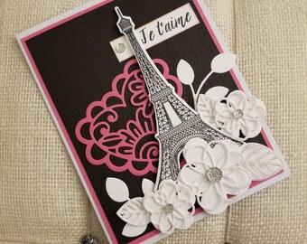 Paris Card/ Eiffel Tower Card/ Handmade French Card