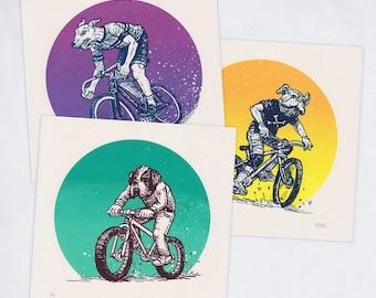 Bike Dogs — Set of 3 Silkscreened Art Prints