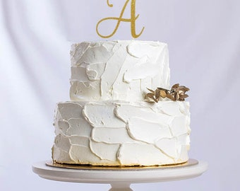 Initial Monogram Cake Topper, Cake Decoration, Glitter, Party, Custom, Personalized, Gold, Silver, Engagement, Wedding, Birthday