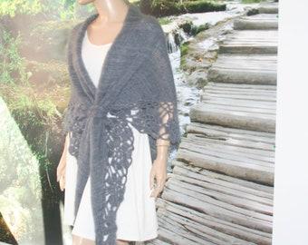 Gray Crochet Shawl, Crochet Knit Shawl, Bridal Bolero,Bridal Wrap,Mohair Bolero,Mohair Shrug,Mohair Wrap,Wedding Cape,Bridal Cape