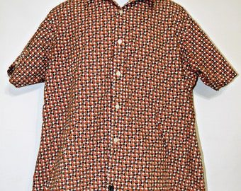 Ben Sherman Polka Dot Shirt, Short Sleeve, Screw Top Pattern, Button Down, Orange, Brown, Men's 2XL, Musician, Hipster, Nerd, Geek, Kitsch
