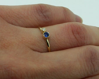 Gold Ring Blue Sapphire Ring and Diamond - Blue Goldstone Ring - Promise Ring for Her - Dainty Stacking Rings - Minimalist Rings