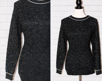 Vintage 1990s Black and Silver Metallic Knitivo Long Sleeved Knit Plus Sweater