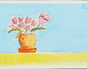 Flowers Original Miniature Watercolor Painting ACEO Trading Cards Small Art Paintings Gift  MOM Blue Yellow Pink