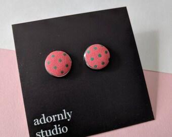 Red polkadot fabric earrings