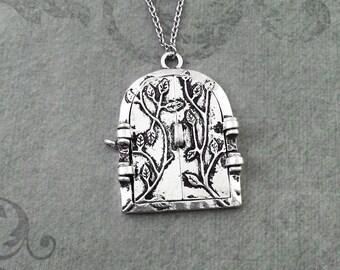 Fairy Door Necklace LARGE Fairy Jewelry Silver Door Pendant Necklace Fantasy Necklace Gothic Door Necklace Fantasy Jewelry Fairy Necklace