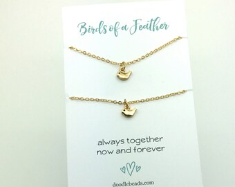 Birds of a Feather necklace, Tiny Bird Necklace, small Gold or silver bird necklace, sister necklace, friends necklace, mother daughter