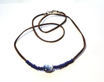 Brown Leather Southwest Style Necklace with Hand Blown Blue Glass Heishi Beads and Ombre Blue Glass Lampwork Bead with Crystal Rhinestones