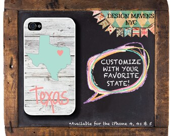 Texas iPhone Case, Personalized State Love iPhone Case, iPhone 8, 8 Plus, iPhone 7, 7 Plus iPhone 6, 6s, 6 Plus, SE, iPhone 5, 5s, 5c, 4