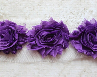 1/2 Yard Shabby Chiffon Flower Trim in Grape Purple - Flower Trim for Headbands and DIY supplies