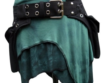 Utility belt two pockets, extra studs, metal buckle * Fanny Pack * Festival belt, bumbag, also plus size, waist pocket, steampunk hip bag