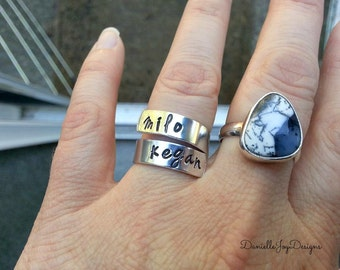 Stamped Aluminum Wrapped Custom Ring - Name Ring - Spiral Ring - Kids Names - Hand Stamped Jewelry - Personalized Jewelry - Engraved Jewelry