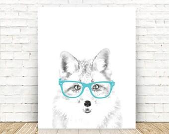 Fox Art Print, Woodland Nursery, Children's Room Art, Woodland Animals, Fox with Glasses, Nursery Decor, 5x7, 8x10, 11x14 or 16x20 PRINT