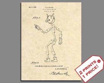 Patent Prints - 1935 Reddy Kilowatt Classic Electricity Patent Art - Vintage Reddy Kilowatt Antique Electricity Patent Print Wall Art - 44