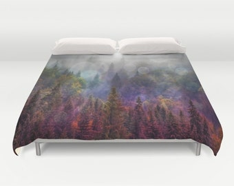 Four Seasons Forest  Duvet Cover, In The Woods, Evergreen Bedding, Woodland, Unique Design, Comforter Cover, Scenic Bedding, Nature, Dorm