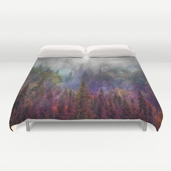 Four Seasons Forest  Duvet Cover, In The Woods, Evergreen Bedding, Woodland, Unique Design, Scenic Bedding, Nature, Dorm, trees, pines, fir