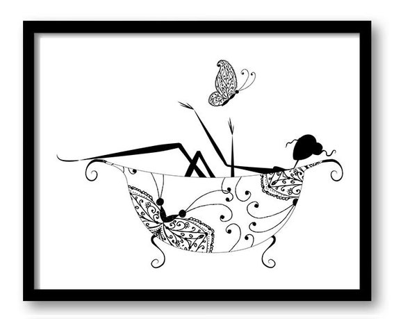 Superior instant download black white bathroom girl in bathtub bath tub butterfly printable bathroom print art