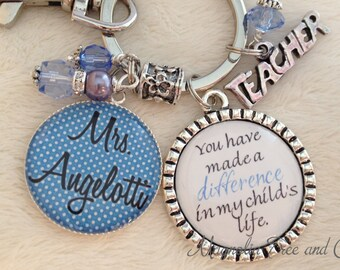 TEACHER Key Chain, Necklace, Personalized, Teacher Gift, School, Supply, Educational Assistant, Aide, You Have Made a Difference MT08