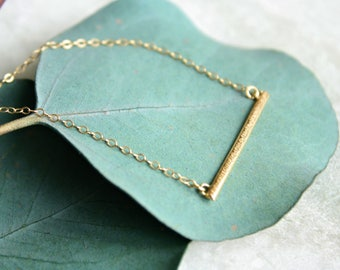 gold bar necklace, 14k gold necklace, layering necklace, delicate minimalist, recycled 14k gold, gift for women, holiday gift idea for her
