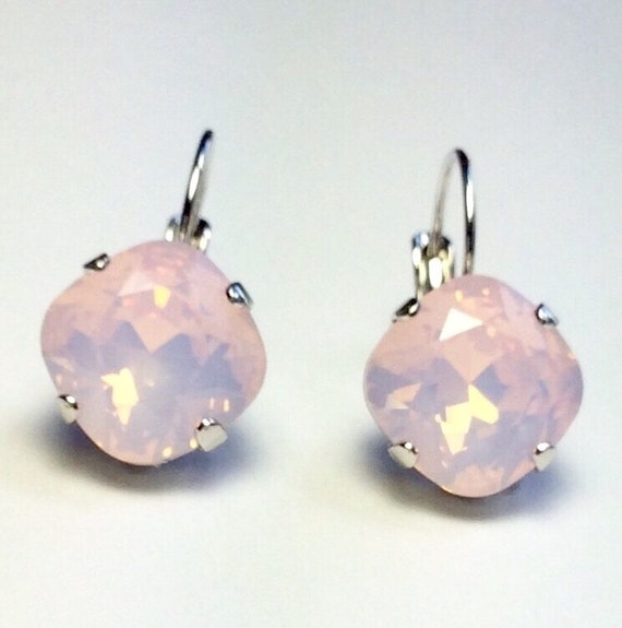 Swarovski Crystal 12MM Cushion Cut, Lever- Back Drop Earrings - Designer Inspired  -Rosewater Opal- On SALE -  FREE SHIPPING