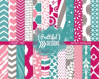 Teal Fuschia Digital Paper Pack Commercial Use - I Heart You